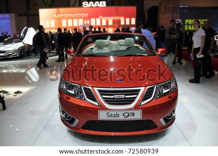 GENEVA, MARCH 3 : A Saab 93 car on display at 81th International Motor Show Palexpo-Geneva on March 3, 2010 in Geneva, Switzerland. - stock photo
