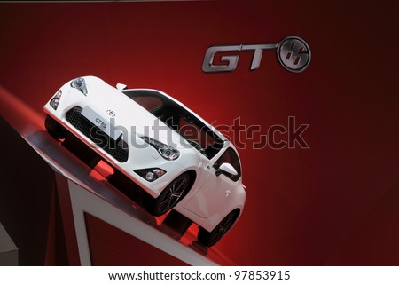 GENEVA, MARCH 8 : A TOYOTA  GT 86 car on display at 82th International Motor Show Palexpo-Geneva on March 8, 2012 in Geneva, Switzerland.
