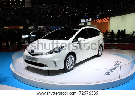 GENEVA - MARCH 3 : A TOYOTA prius  car on display at 81th International Motor Show Palexpo-Geneva on March 3, 2010 in Geneva, Switzerland. - stock photo