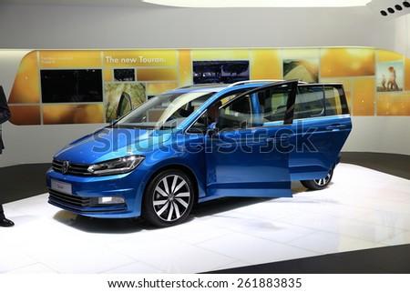 GENEVA, MARCH 3:A Volkswagen VW Touran car on display at 85th international Geneva motor Show at Palexpo-Geneva on March 3, 2015 at Geneva, Switzerland.  - stock photo
