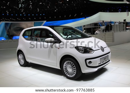 GENEVA, MARCH 8 : A Volkswagen white up!  car on display at 82th International Motor Show Palexpo-Geneva on March 8, 2012 in Geneva, Switzerland. - stock photo