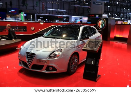 GENEVA, MARCH 3: alfa-romeo giulietta car on display at 85th international Geneva motor Show at Palexpo-Geneva on March 3, 2015 at Geneva, Switzerland.