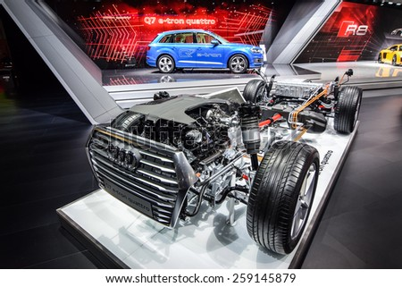 GENEVA - MARCH 3, 2015: Audi Q7 E-Tron Quattro diesel-electric SUV presented at the 85th Geneva International Motor Show in Palexpo. Photo of the platform with hybrid powertrain.