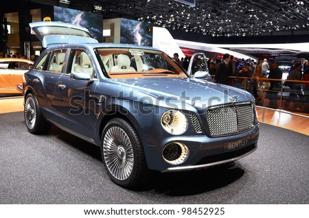 GENEVA - MARCH 12: Bentley EXP-9 world's only W12 SUV on display at 82nd Geneva Motor Show on March 12, 2012 in Geneva, Switzerland - stock photo