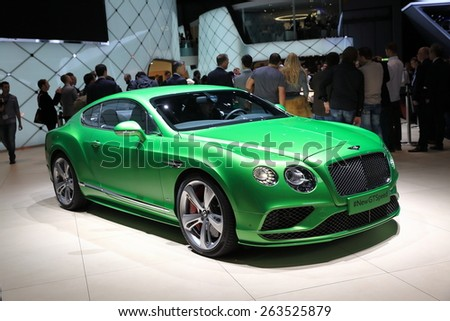 GENEVA, MARCH 3: Bentley new gt speed car on display at 85th international Geneva motor Show at Palexpo-Geneva on March 3, 2015 at Geneva, Switzerland.  - stock photo