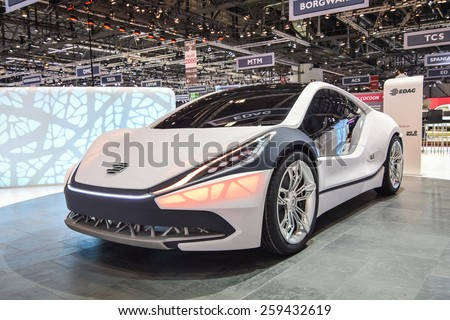 GENEVA - MARCH 3, 2015: Edag Light Cocoon presented at the 85th Geneva International Motor Show. The structure underneath the skin of the concept car takes inspiration from tree branches and leaves. - stock photo