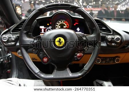 GENEVA, MARCH 3: Ferrari 488 GTB car on display at 85th international Geneva motor Show at Palexpo-Geneva on March 3, 2015 at Geneva, Switzerland. - stock photo