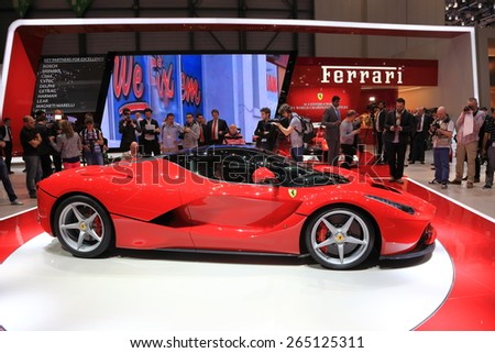 GENEVA, MARCH 3: Ferrari LaFerrari car on display at 85th international Geneva motor Show at Palexpo-Geneva on March 3, 2015 in Geneva, Switzerland. - stock photo