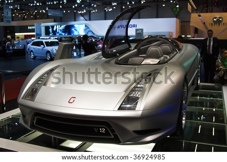 GENEVA - MARCH 7: G12 concept car on display at the 79th International Motor Show Palexpo-Geneva on March, 2009. - stock photo