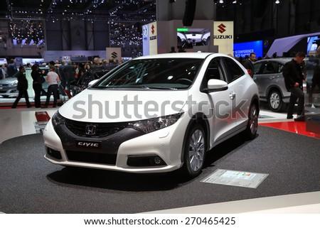 GENEVA, MARCH 3: Honda civic car on display at 85th international Geneva motor Show at Palexpo-Geneva on March 3, 2015 at Geneva, Switzerland. - stock photo