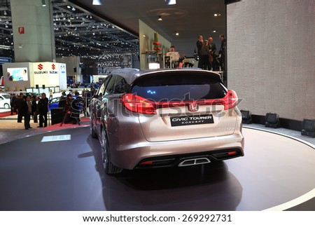 GENEVA, MARCH 3: Honda Civic Tourer concept car on display at 85th international Geneva motor Show at Palexpo-Geneva on March 3, 2015 at Geneva, Switzerland.