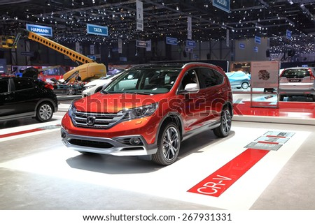 GENEVA, MARCH 3:Honda CR-V car on display at 85th international Geneva motor Show at Palexpo-Geneva on March 3, 2015 at Geneva, Switzerland.  - stock photo