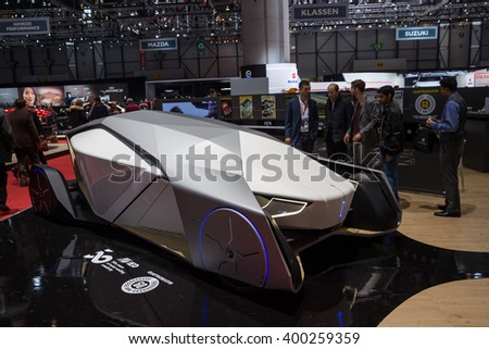 GENEVA, MARCH 2: IED Shiwa origami inspired self driving car on display at 86th international Geneva motor Show at Palexpo-Geneva on March 2, 2016 at Geneva, Switzerland.