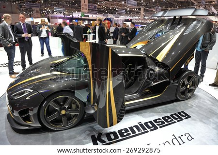 GENEVA, MARCH 3: Koenigsegg Agera S HUNDRA 100 car on display at 85th international Geneva motor Show at Palexpo-Geneva on March 3, 2015 at Geneva, Switzerland. - stock photo