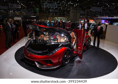 GENEVA, MARCH 2: koenigsegg regera car on display at 86th international Geneva motor Show at Palexpo-Geneva on March 2, 2016 in Geneva, Switzerland. - stock photo