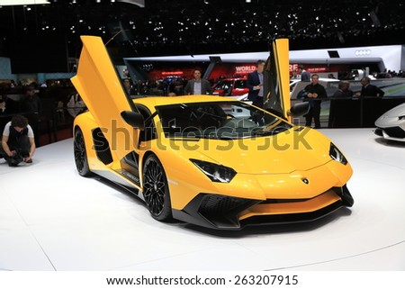 GENEVA, MARCH 3: Lamborghini Aventador LP750-4 SV car on display at 85th international Geneva motor Show at Palexpo-Geneva on March 3, 2015 at Geneva, Switzerland.  - stock photo
