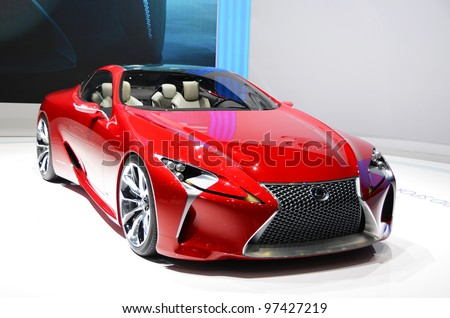 GENEVA - MARCH 12: LF-LC Hybrid Concept Sport Coupe by Lexus on display at 82nd Geneva Motor Show on March 12, 2012 in Geneva, Switzerland. - stock photo