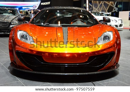GENEVA - MARCH 12: Mansory McLaren MP4-12C at 82nd International Motor Show on March 12, 2012 in Geneva, Switzerland - stock photo
