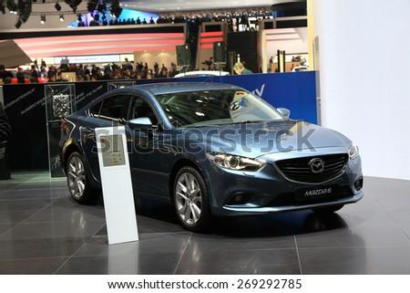 GENEVA, MARCH 3: Mazda 6 car on display at 85th international Geneva motor Show at Palexpo-Geneva on March 3, 2015 at Geneva, Switzerland. - stock photo