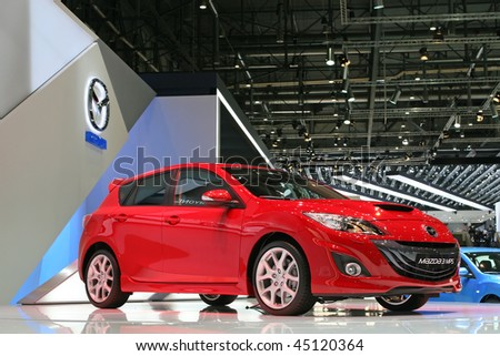 GENEVA - MARCH 7: Mazda 3 MPS on display at the 79th International Motor Show Palexpo-Geneva on March 7, 2009 in Geneva. - stock photo
