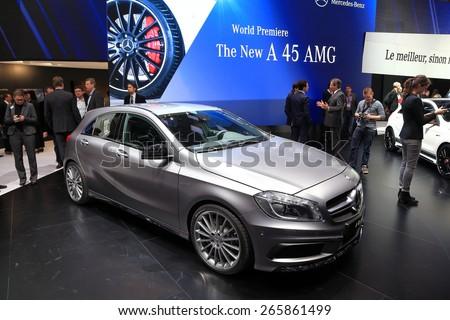 GENEVA, MARCH 3: Mercedes Benz A 45 AMG car on display at 85th international Geneva motor Show at Palexpo-Geneva on March 3, 2015 at Geneva, Switzerland. - stock photo