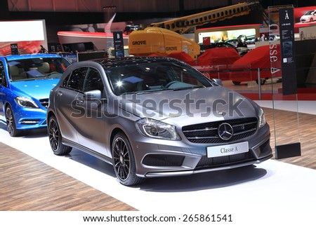 GENEVA, MARCH 3: Mercedes Benz classe A car on display at 85th international Geneva motor Show at Palexpo-Geneva on March 3, 2015 at Geneva, Switzerland.