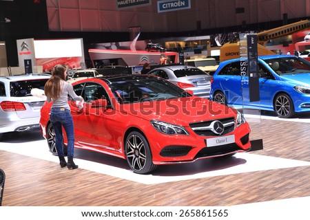 GENEVA, MARCH 3: Mercedes Benz classe E car on display at 85th international Geneva motor Show at Palexpo-Geneva on March 3, 2015 at Geneva, Switzerland. - stock photo