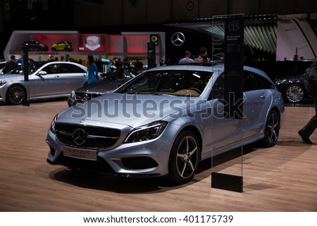 GENEVA, MARCH 2:Mercedes-Benz CLS 350 d shooting brake car on display at 86th international Geneva motor Show at Palexpo-Geneva on March 2, 2016 in Geneva, Switzerland.