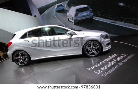 GENEVA - MARCH 16 : Mercedes Classe A on display at the 82st International Motor Show Palexpo -Geneva on March 16; 2012 in Geneva, Switzerland.
