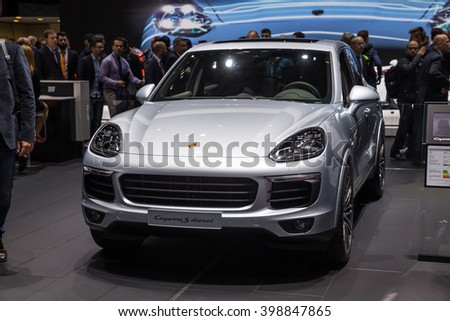 GENEVA, MARCH 2:  Porsche Cayenne S Diesel car on display at 86th international Geneva motor Show at Palexpo-Geneva on March 2, 2016 in Geneva, Switzerland.
