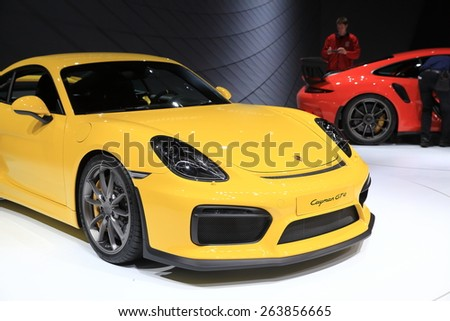 GENEVA, MARCH 3: Porsche Cayman GT4 car on display at 85th international Geneva motor Show at Palexpo-Geneva on March 3, 2015 at Geneva, Switzerland.  - stock photo