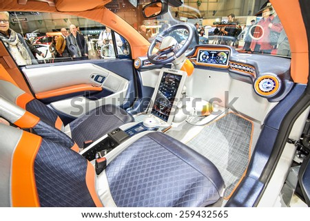 GENEVA - MARCH 3, 2015: Rinspeed Budii Concept autonomous car based on all-electric BMW i3 presented at the 85th Geneva International Motor Show. - stock photo
