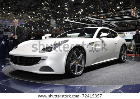 GENEVA - MARCH 1: Stunning Ferrari FF on display at Geneva International Motor Show at Palexpo Geneva Centre, March 1, 2011 in Geneva, Switzerland.