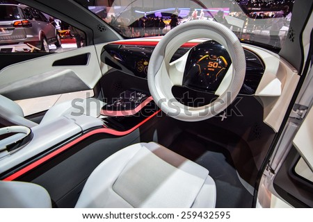 GENEVA - MARCH 3, 2015: Tata Connect Next Concept presented at the 85th Geneva International Motor Show. It features five seat adaptive layout with the floating seats mounted to the centre spine. - stock photo