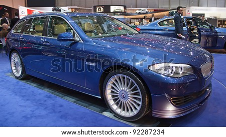 GENEVA - MARCH 8: The BMW 5 restyled by Alpina on display at the 81st International Motor Show Palexpo-Geneva on March 8; 2011  in Geneva, Switzerland. - stock photo