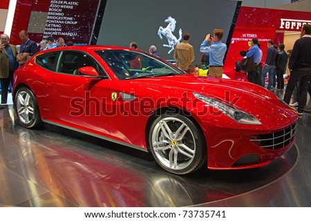 GENEVA - MARCH 8: The brand new Ferrari FF on display at the 81st International Motor Show Palexpo-Geneva on March 8, 2011  in Geneva, Switzerland.