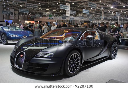 GENEVA - MARCH 8: The Bugatti GTX Sport car on display at the 81st International Motor Show Palexpo-Geneva on March 8; 2011  in Geneva, Switzerland. - stock photo