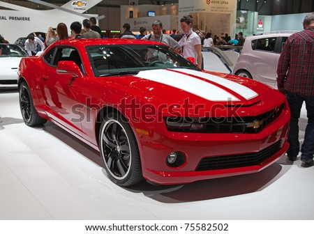GENEVA - MARCH 8: The Chevrolet Camaro on the 81st International Motor Show Palexpo-Geneva on March 8; 2011  in Geneva, Switzerland.