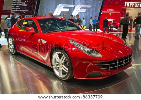 GENEVA - MARCH 8: The Ferrari FF on display at the 81st International Motor Show Palexpo-Geneva on March 8, 2011  in Geneva, Switzerland.