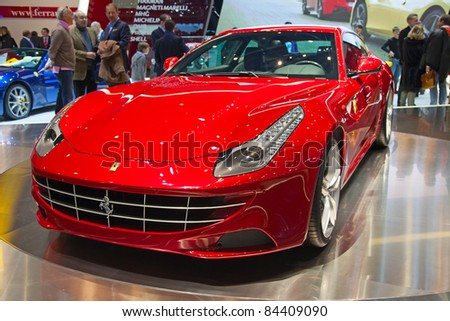 GENEVA - MARCH 8: The Ferrari FF premiere at the 81st International Motor Show Palexpo-Geneva on March 8; 2011  in Geneva, Switzerland.
