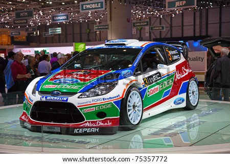 GENEVA - MARCH 8: The Ford Fiesta Rally Car on display at the 81st International Motor Show Palexpo-Geneva on March 8; 2011  in Geneva, Switzerland. - stock photo