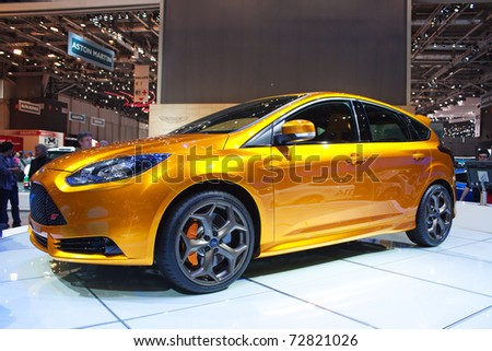 GENEVA - MARCH 8: The Ford Focus ST concept car on display at the 81st International Motor Show Palexpo-Geneva on March 8; 2011  in Geneva, Switzerland. - stock photo