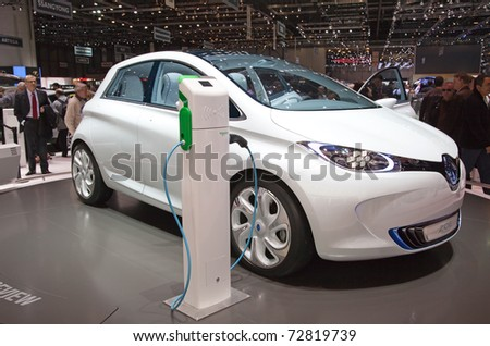 GENEVA - MARCH 8: The fully electric Renault ZOE prototype on display at the 81st International Motor Show Palexpo-Geneva on March 8; 2011  in Geneva, Switzerland. - stock photo