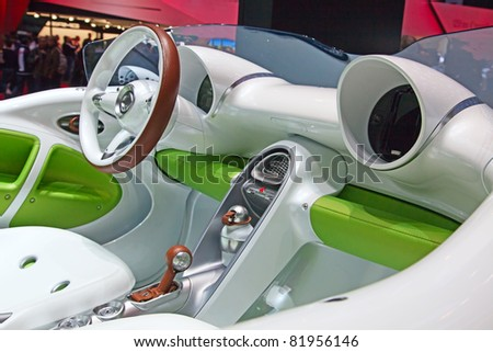 GENEVA - MARCH 8: The Futuristic console of the new Smart forSpeed on display at the 81st International Motor Show Palexpo-Geneva on March 8, 2011 in Geneva, Switzerland. - stock photo