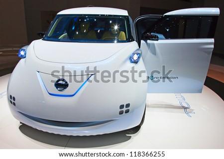GENEVA - MARCH 8: The futuristic Nissan Townpod on display at the 81st International Motor Show Palexpo-Geneva on March 8; 2011 in Geneva, Switzerland. - stock photo