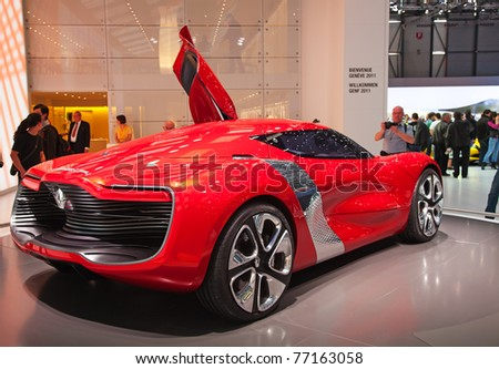 GENEVA - MARCH 8: The futuristic Renault Dezir concept car on preview at the 81st International Motor Show Palexpo-Geneva on March 8, 2011 in Geneva, Switzerland. - stock photo