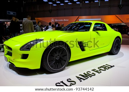 GENEVA - MARCH 8: The Mercedes-Benz SLK E-Cell on display at the 81st International Motor Show Palexpo-Geneva on March 8; 2011  in Geneva, Switzerland. - stock photo