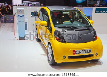 GENEVA - MARCH 8: The Mitsubishi IMIEV electric car customized by Rindpeed on display at the 81st International Motor Show Palexpo-Geneva on March 8; 2011 in Geneva, Switzerland. - stock photo