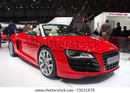 GENEVA - MARCH 8: The new Audi Quattro with R8 5.2 engine on display at the 81st International Motor Show Palexpo-Geneva on March 8; 2011  in Geneva, Switzerland. - stock photo