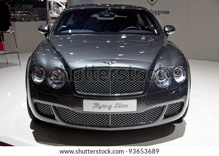 """GENEVA - MARCH 8: The new Bentley Continental """"Flying Star"""" on display at the 81st International Motor Show Palexpo-Geneva on March 8; 2011  in Geneva, Switzerland. - stock photo"""